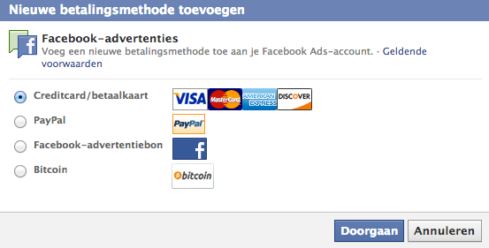 Facebook Bitcoin Ads payment
